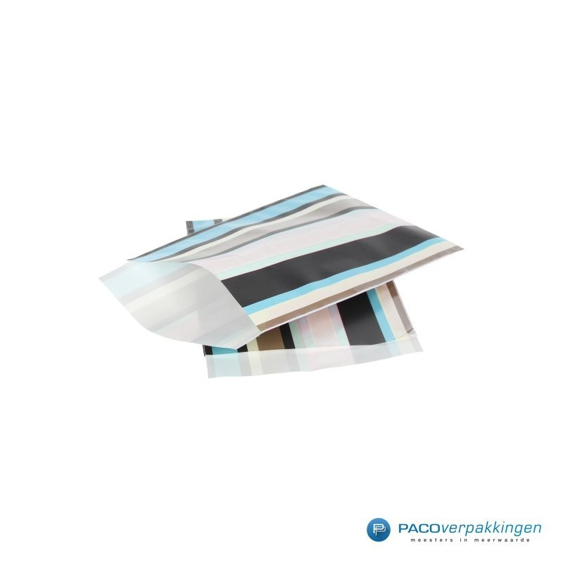 Papieren zakjes - Strepen gekleurd - Nr.924 - Zijaanzicht