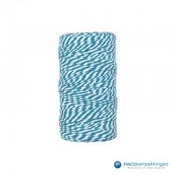 Katoen touw - Turquoise/Wit - Vooraanzicht