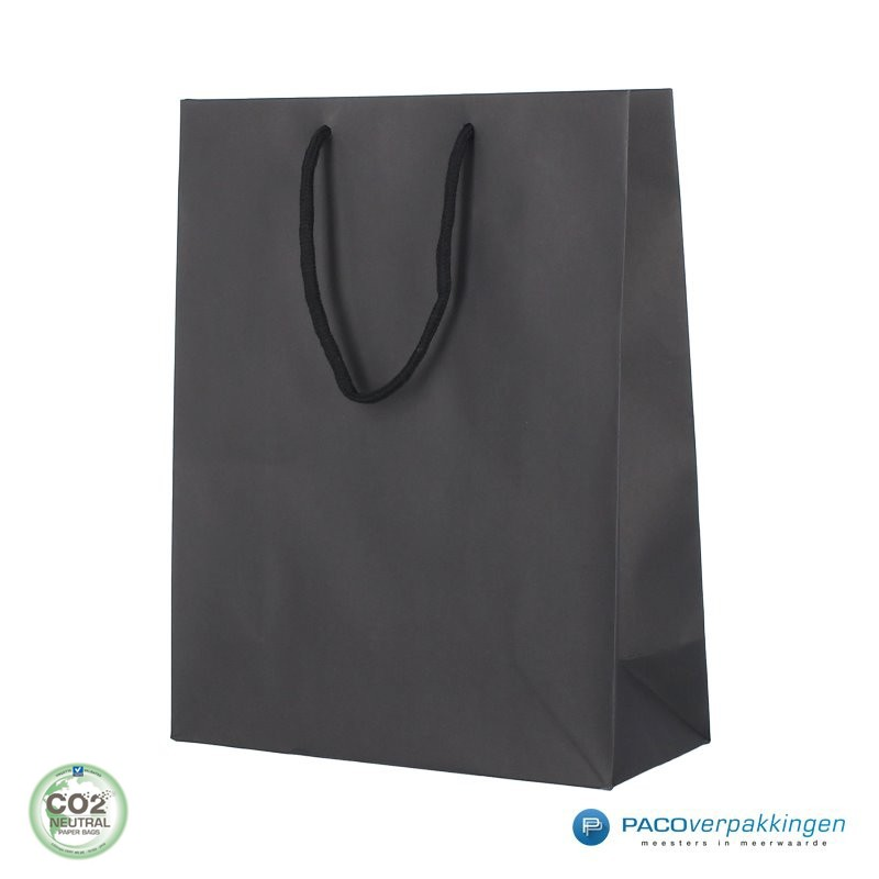 Papieren draagtassen - Zwart Mat - Luxe - Katoenen koord - Zijaanzicht voor
