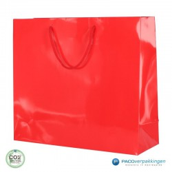 Papieren draagtassen - Rood Glans - Luxe - Katoenen koord - Zijaanzicht voor