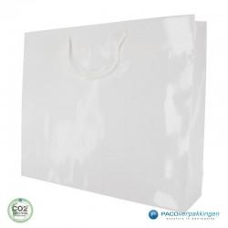 Papieren draagtassen - Wit Glans - Luxe - Katoenen koord - Zijaanzicht