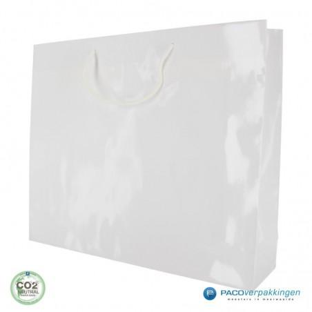 Papieren draagtassen - Wit Glans - Luxe - Katoenen koord