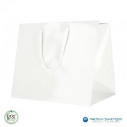 Papieren draagtassen - Wit Glans - Luxe - Katoenen koord - Zijaanzicht voorkant