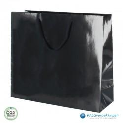 Papieren draagtassen - Zwart Glans - Luxe - Katoenen koord - Zijaanzicht