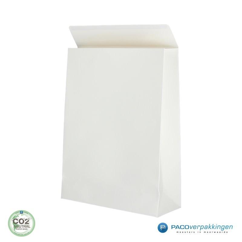 Geschenkzakjes papier - Wit Mat (Palermo) - Zijaanzicht