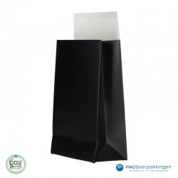 Geschenkzakjes papier - Zwart mat (Palermo) - Zijkant Vooraanzicht