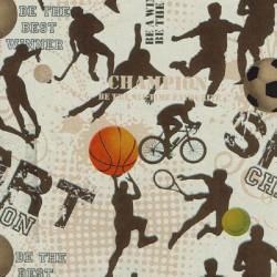 Inpakpapier - Sport - Bruin met zwart (Nr. 1517) - Close-up