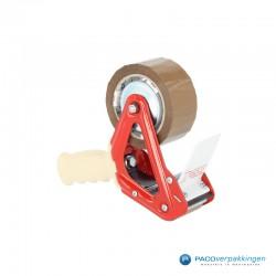 Tape Dispenser - Dozensluiter - Rood - Zijaanzicht met rol