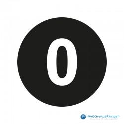Kleding stickers - Cijfer 0 - Wit op Zwart Glans - Close-up