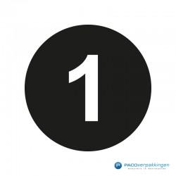 Kleding stickers - Cijfer 1 - Wit op Zwart Glans - Close-up