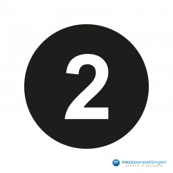 Kleding stickers - Cijfer 2 - Wit op Zwart Glans - Close-up