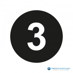 Kleding stickers - Cijfer 3 - Wit op Zwart Glans - Close-up