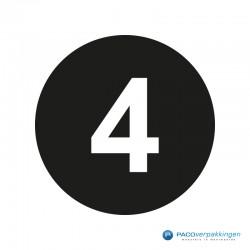 Kleding stickers - Cijfer 4 - Wit op Zwart Glans - Close-up
