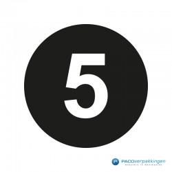 Kleding stickers - Cijfer 5 - Wit op Zwart Glans - Close-up