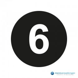 Kleding stickers - Cijfer 6 - Wit op Zwart Glans - Close-up