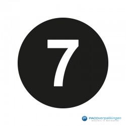 Kleding stickers - Cijfer 7 - Wit op Zwart Glans - Close-up