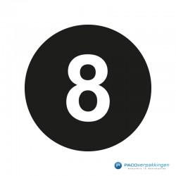Kleding stickers - Cijfer 8 - Wit op Zwart Glans - Close-up