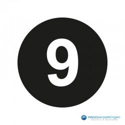 Kleding stickers - Cijfer 9 - Wit op Zwart Glans - Close-up