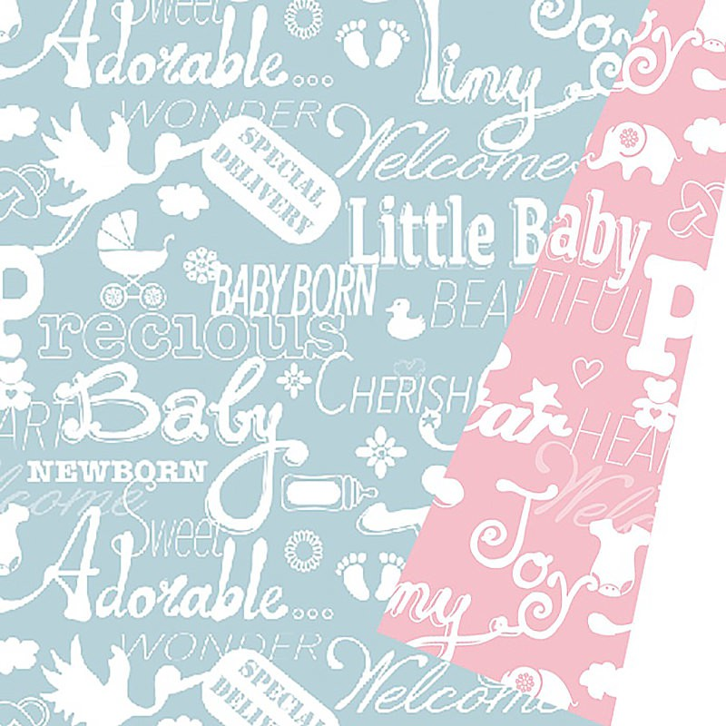 Inpakpapier - Baby - Blauw en roze (Nr. 601449/1) - Close-up