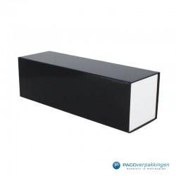 Magneetdoos - Zwart Wit Glans - Budget - Zijaanzicht dicht