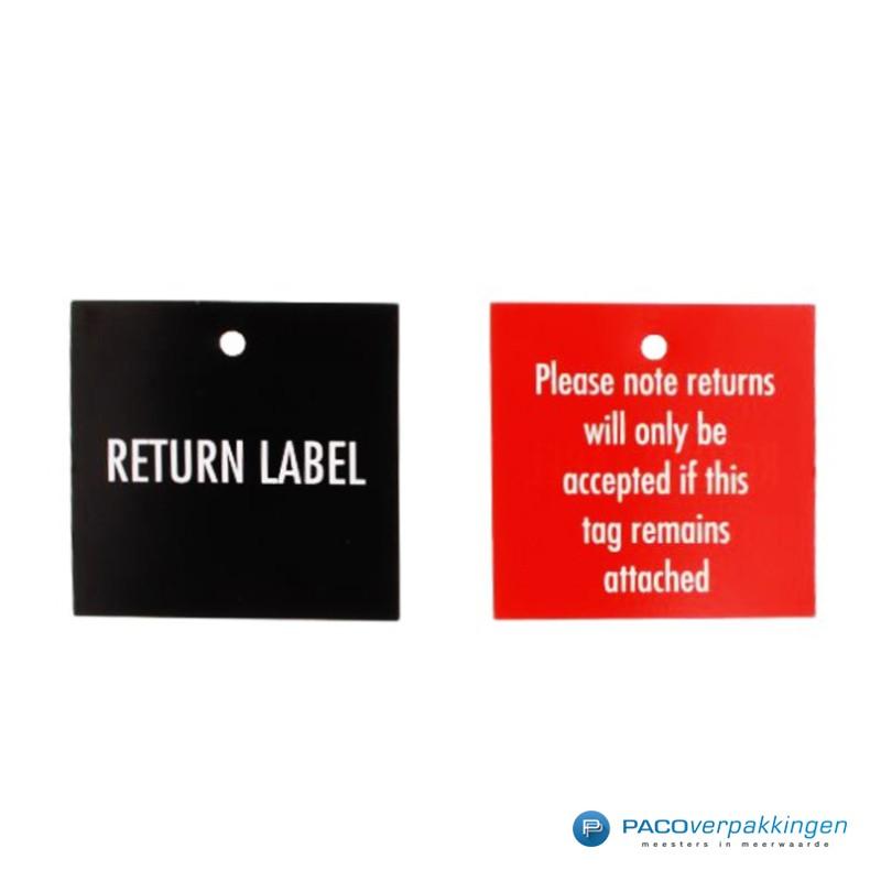 Retourlabels - Fluorrood - Voor- en achterkant