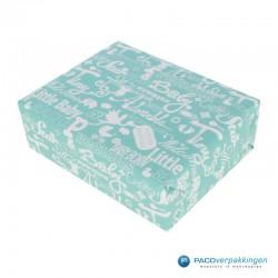Inpakpapier - Baby - Blauw en roze (Nr. 601449/1) - Voorbeeld blauw