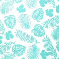 Zijdepapier - Tropische bladeren - Blauw op wit- Detail