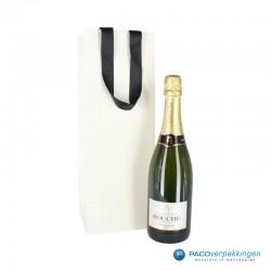 Wijntassen - Champagne - Wit met zwart ribbel lint hengsel - Luxe - Gebruik