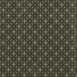 Inpakpapier Feestdagen - Sterren - Goud op zwart (Nr. 90186) - Close-up