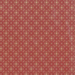 Inpakpapier Feestdagen - Sterren - Goud op donker rood (Nr. 90184) - Close-up