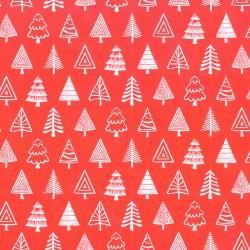 Inpakpapier Feestdagen -Kerstbomen - Wit op rood (Nr. 089) - Close-up
