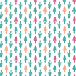 Inpakpapier Feestdagen - Kerstbomen - Groen, roze en oranje op wit (Nr. 086) - Close-up
