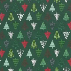 Inpakpapier Feestdagen - Kerstbomen - Multikleur op donker groen (Nr. 083) - Close-up