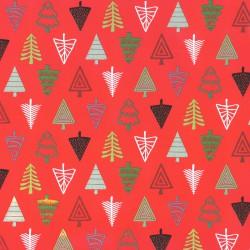 Inpakpapier Feestdagen - Kerstbomen - Multikleur op rood (Nr. 082) - Close-up