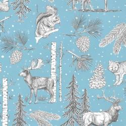 Inpakpapier Feestdagen - Dieren en kerstbomen - Grijs en wit op licht blauw (Nr. 080) - Close-up