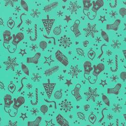 Inpakpapier Feestdagen - Kerstversiering - Zwart op turquoise (Nr. 079) - Close-up