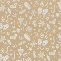Inpakpapier Feestdagen - Kerstversiering - Wit op bruin (Nr. 078) - Close-up