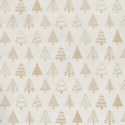 Inpakpapier Feestdagen - Kerstbomen - Beige op bruin (Nr. 077) - Close-up