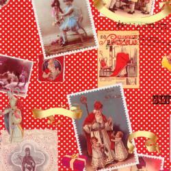 Inpakpapier Sinterklaas - Multikleur op rood (Nr. 90004) - Close-up