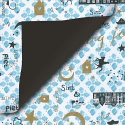 Inpakpapier Sinterklaas - Goud, zwart en blauw op wit (Nr. 90023) - Close-up