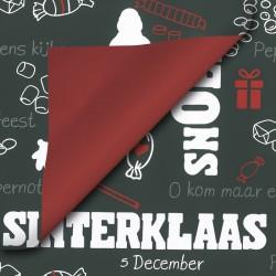 Inpakpapier Sinterklaas - Rood en wit op zwart (Nr. 90037) - Close-up