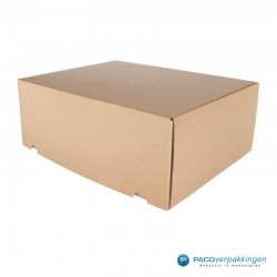 Postdozen met klepsluiting A3 - Duo - Bruin Kraft en Wit Kraft - Luxe - Zijaanzicht dicht bruin