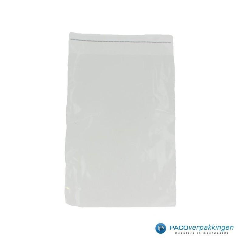PP zakken met kleefstrip - Transparant - Vooraanzicht