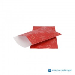 Papieren zakjes - Sterren - Goud op rood (Nr. 6063) - Vooraanzicht