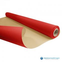 Inpakpapier - Effen - Rood met bruin kraft - Budget - Op rol