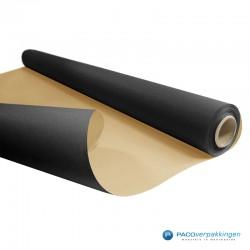 Inpakpapier - Effen - Zwart met bruin kraft - Budget - Op rol