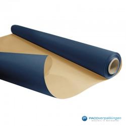 Inpakpapier - Effen - Blauw met bruin kraft - Budget - Op rol