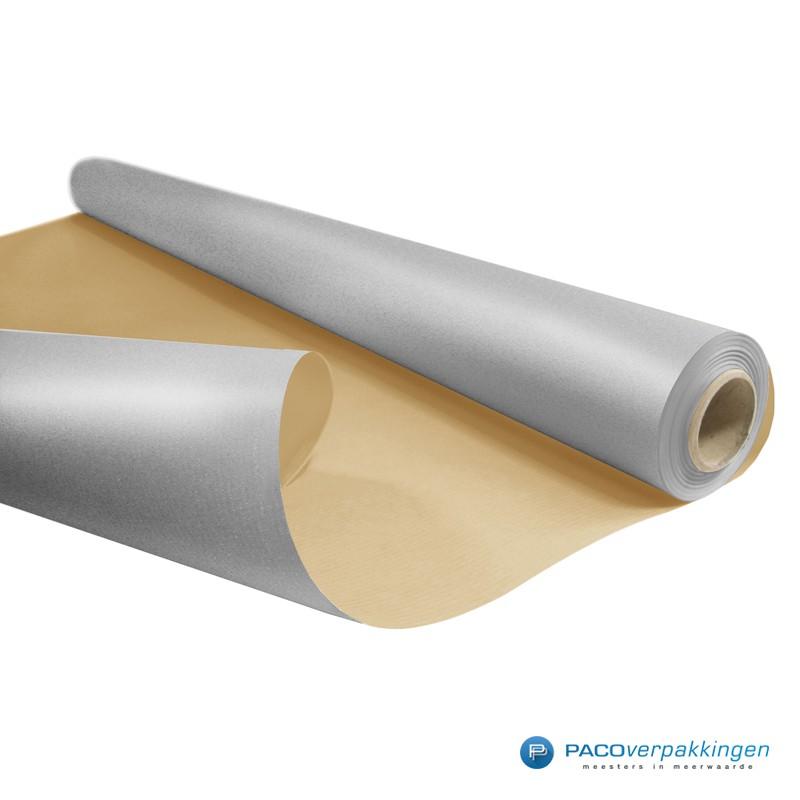 Inpakpapier - Effen - Zilver met bruin kraft - Budget - Op rol