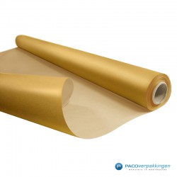 Inpakpapier - Effen - Goud met bruin kraft - Budget - Op rol