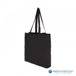 Katoenen draagtassen   Winkeltassen - Zwart - Lange hengsels - Zijaanzicht2